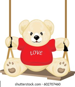 Smiling plush bear on the swing. Vector