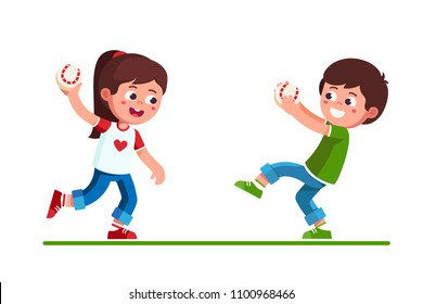 Smiling preschool boy & girl kids playing with baseball game holding catching and throwing ball. happy, kids playing baseball. Children cartoon characters. Childhood sport. Flat vector illustration