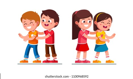 Smiling preschool boy and girl kids tickling laughing friends. Happy kids tickle each other playing together having fun. Children cartoon characters set. Flat vector illustration on white background