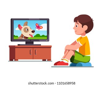 Smiling preschool boy kid sitting on cushion and watching film on TV about dog and butterfly. Kid dreaming about own dog watching TV. Child leisure. Flat style vector illustration isolated on white