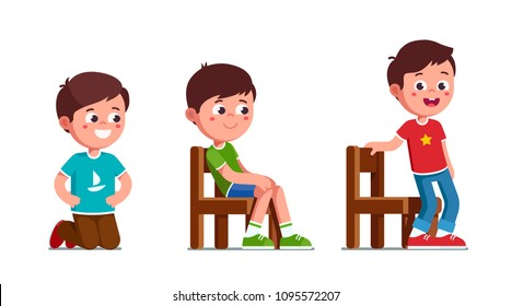 Smiling preschool boys standing on knees, sitting and standing up from chair. Happy child cartoon characters set. Flat vector illustration isolated on white background