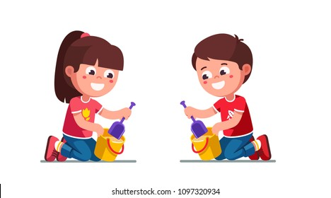 Smiling preschool girl and boy kids playing with sand, scooping it with shovel from bucket. Kids playing in sandbox. Children cartoon characters set. Flat vector illustration isolated on white