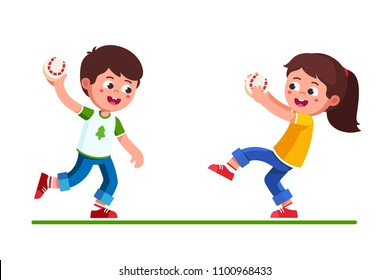 Smiling preschool girl & boy kids playing with baseball game holding catching and throwing ball. happy, kids playing baseball. Children cartoon characters. Childhood sport. Flat vector illustration