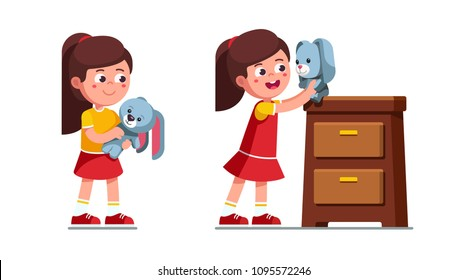 Smiling preschool girl kid playing with soft toy rabbit, carrying and seating it on top if drawers chest. Child cartoon character. Flat vector illustration isolated on white background