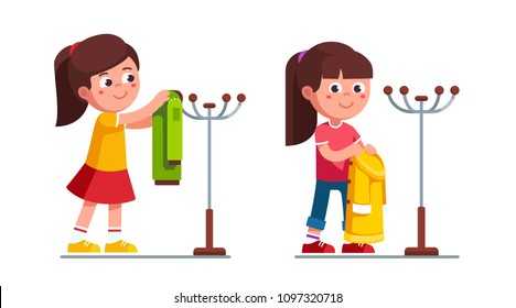 Smiling preschool girls holding & hanging coat on hanger stand. Child cartoon girl characters. Childhood & preschool development. Clothing metal hanger rack. Flat vector illustration isolated on white