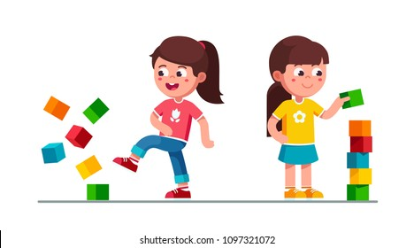 Smiling preschool girls kids building tower of toy cubes and breaking it. Kids playing with toy cube blocks tower. Children cartoon girls characters. Flat vector illustration isolated on white