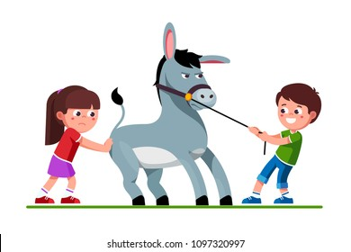 Smiling preschool kids boy pulling stubborn donkey on reins and unhappy girl pushing it. Kids playing together with donkey. Pulling and pushing children cartoon characters. Flat vector illustration