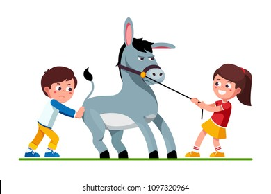 Smiling preschool kids girl pulling stubborn donkey on reins and unhappy boy pushing it. Kids playing together with donkey. Pulling and pushing children cartoon characters. Flat vector illustration