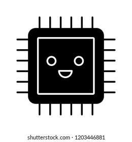 Smiling processor glyph icon. Well working microprocessor. Chip, microchip, chipset in good quality. CPU. Central processing unit. Integrated circuit. Silhouette symbol. Vector isolated illustration