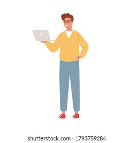 Smiling programmer, coder, businessman, IT worker, specialist holding, watching laptop. Young man, boy, teenager student. Remote work. Flat vector cartoon illustration isolated on white background