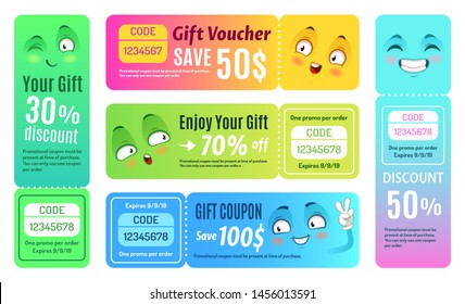 Smiling promo voucher. Happy gift coupon, funny deal vouchers and gifts code coupons template. Japan manga style birthday voucher or kawaii sale shopping promo code ticket isolated vector set