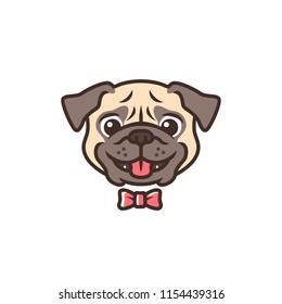 smiling pug dog smile cartoon logo vector mascot character