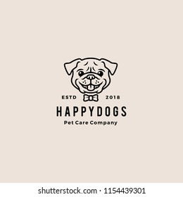smiling pug dog smile hipster retro vintage cartoon logo badges vector mascot character