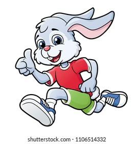 Smiling rabbit jogging