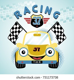 smiling race car, vector cartoon illustration