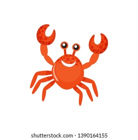 Smiling red crab with raised claws, sea animal, colorful glossy creature in flat design. Decoration water symbol, fishing icon isolated on white vector