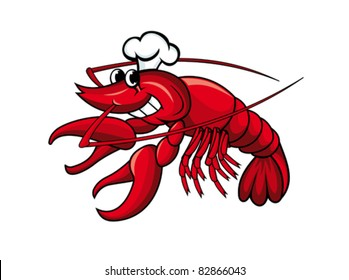 Smiling red crayfish or shrimp isolated on white, such a logo. Rasterized version also available in gallery