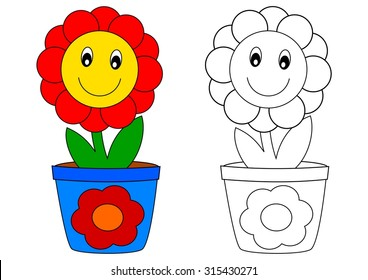 Smiling red flower in blue pot - coloring book for kids - vector