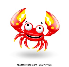 Smiling red sea cartoon fun crab shrimp on white background. Vector illustration.