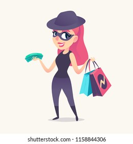 Smiling redhead spy female as mystery shopper in mask, black hat and dark suit, with purchases and money in hands.. Vector illustration.