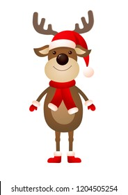 Smiling reindeer wearing hat and scarf. Christmas design element for greeting cards, posters, leaflets and brochures.