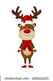 Smiling reindeer wearing Santa hat and scarf vector illustration. Christmas, New Year, character. Holiday concept. Vector illustration can be used for topics like celebration, winter, fantasy