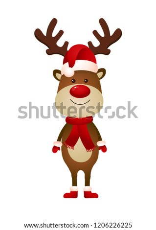 6e495c563de0a Smiling reindeer wearing Santa hat and scarf vector illustration. Christmas