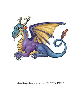 Smiling resting dragon in vector. Cute cartoon hero. Fairytale animal. Blue and purple colored.
