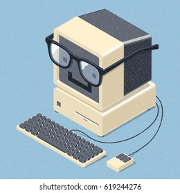 Smiling retro computer with glasses. Geek mascot. Education concept. Isometric vector illustration