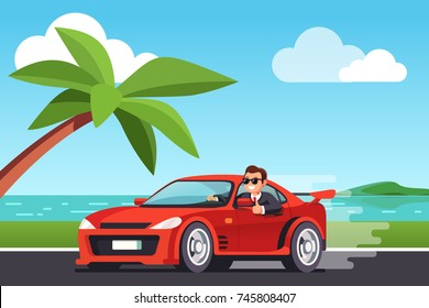 Smiling rich business man driving his car at seashore scenery, looking out side window, showing thumb up gesture. Expensive ride. Successful test drive. Flat style vector illustration.