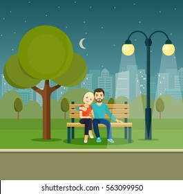 Smiling romantic Couple  on Bench  under a tree in the park. Vector flat illustration