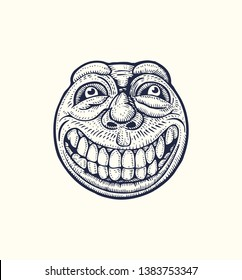 Smiling, round emoticon. Drawing Style. Vector illustration.