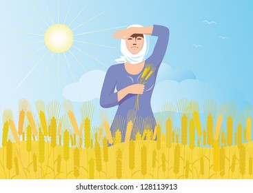 Smiling russian girl in a white scarf with ears of wheat in the hand is worth a wheat field on a background of blue sky, sun and flying birds.