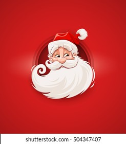 Smiling Santa Claus character head white beard and moustaches in traditional Christmas holiday merry santa clauses suit on red background. Vector illustration with Merry Father Christmas personage.