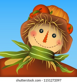 Smiling scarecrow. Apples and pumpkin on the hat top. Scarf made from corn leaves and straw. Autumn colors. Vector illustration. Eps 10.
