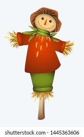 Smiling scarecrow illustration. Autumn colors. White background.
