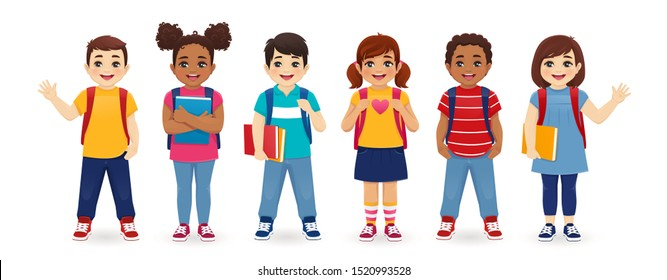 Smiling school children boys and girls with backpacks and books set isolated vector illustration. Multiethnic cute kids