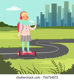 Smiling school girl riding on gyroscope on city background, balancing modern electric scooter vector illustration