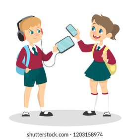 Smiling schoolkid holding gadget in arms. Modern technology addiction concept. Child playing on electronic device. Girl with smartphone. Isolated vector illustration in cartoon style