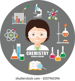 Smiling scientist in safety glasses and chemical equipment. Chemistry. Science concept.  Vector illustration.