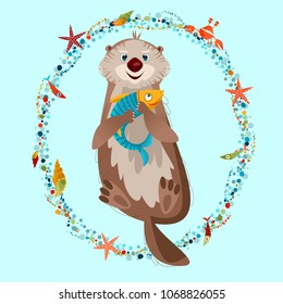 Smiling sea otter holding a fish in paws. Vector illustration