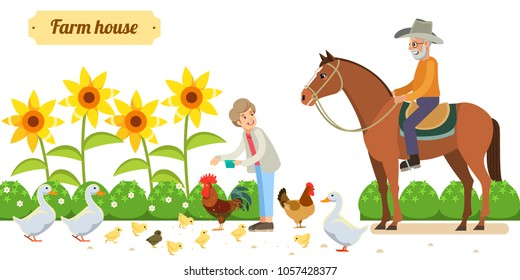Smiling senior woman standing happily in her backyard, while chickens and ducks  are gathered around on the grass at her feet and an older man on a horse. white background. Vector illustration in flat