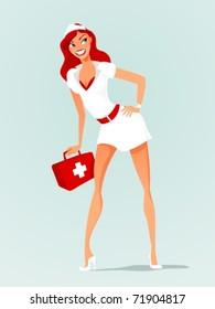 Smiling sexy nurse, vector illustration
