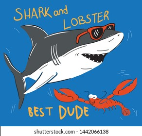 Smiling Shark Cartoon Mascot Character With Sunglasses and lobster friend