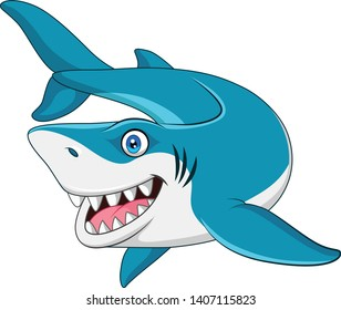 smiling shark cartoon vector illustration