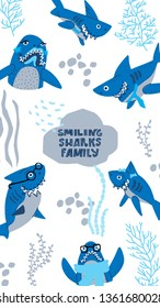Smiling Sharks Family vector drawings set. Vector Vertical header web template. Funny illustration text for social media.