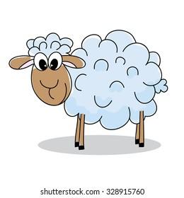 Smiling sheep cartoon on white background