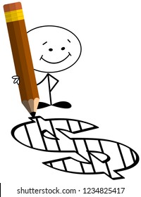 Smiling sick man holding pencil with markings