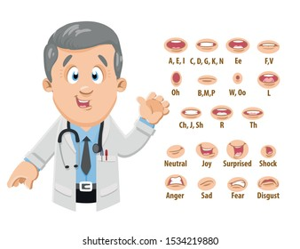 Smiling silver haired physician in lab coat shows to set of mouth, teeth positions. Lip sync emotions collection. Can be used for animation. Cartoon vector illustration isolated on white background.
