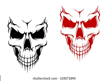 Smiling skull in black and red versions for t-shirt or halloween design. Jpeg version also available in gallery